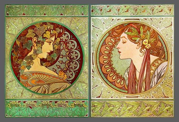 Alphonse Mucha – Le Lierre [Ivy] et Le Laurier [Laurel]– Diptyque ...