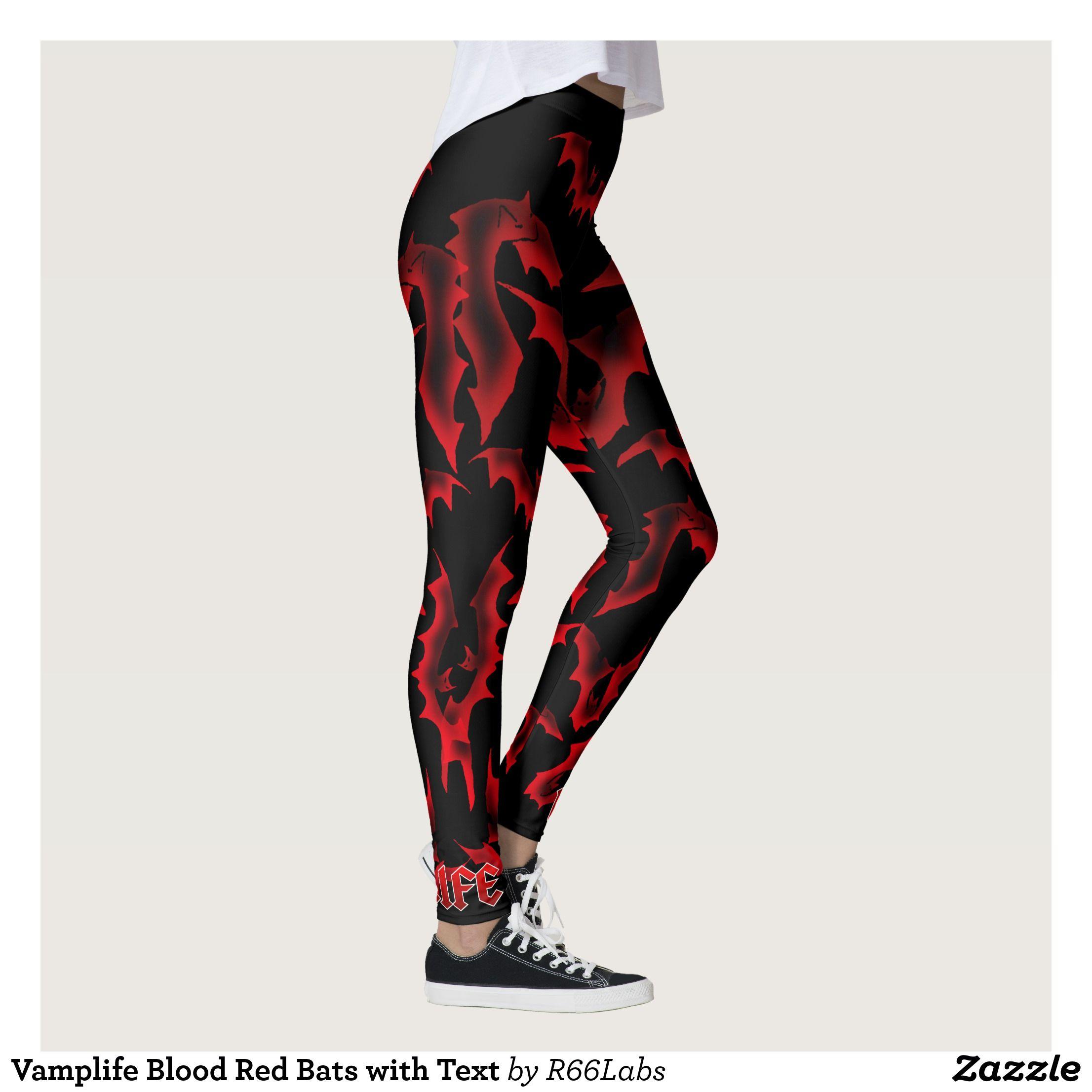 e4398521dba7 Vamplife Blood Red Bats with Text Leggings   Beautiful  Yoga Pants -   Exercise Leggings