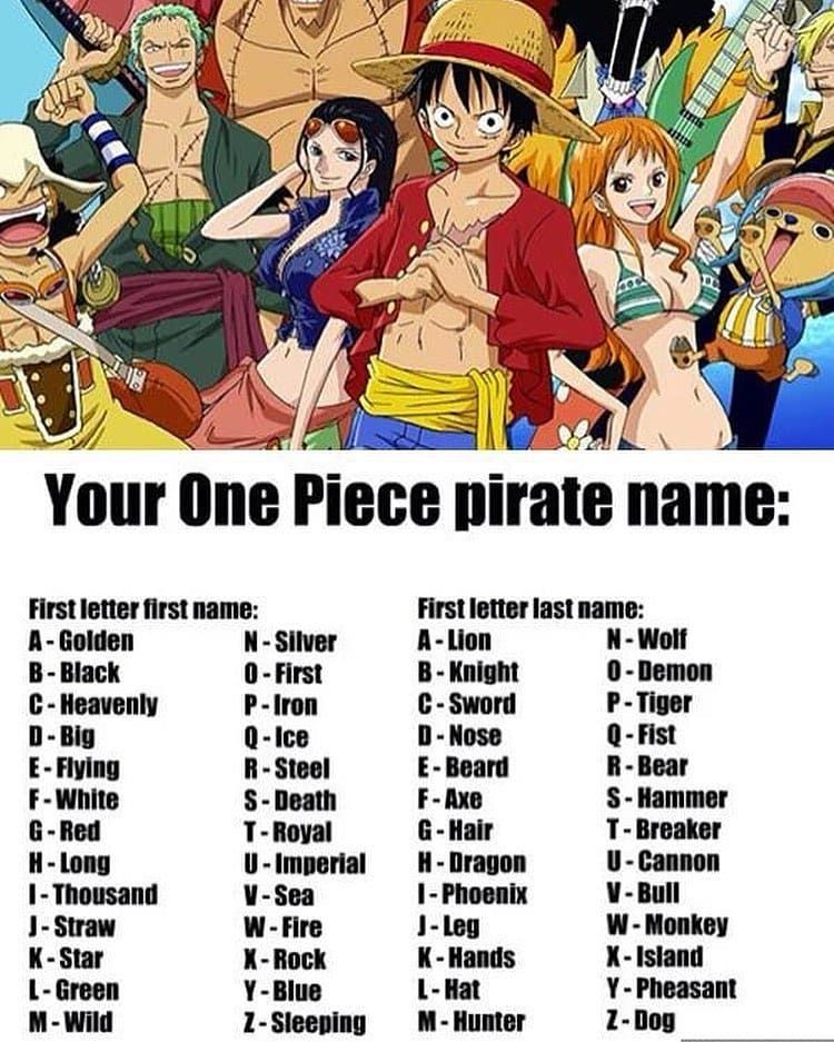 Your One Piece Pirate Name Pirate Names Manga Anime One Piece One Piece