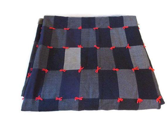 Vintage wool hand-tied quilts  Menswear wool fabrics by wonderdiva