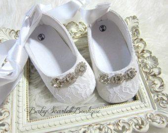 Bébé Fille Blanc Baptême Baptême Chaussures Strass Fleur Satin Bandeau Set