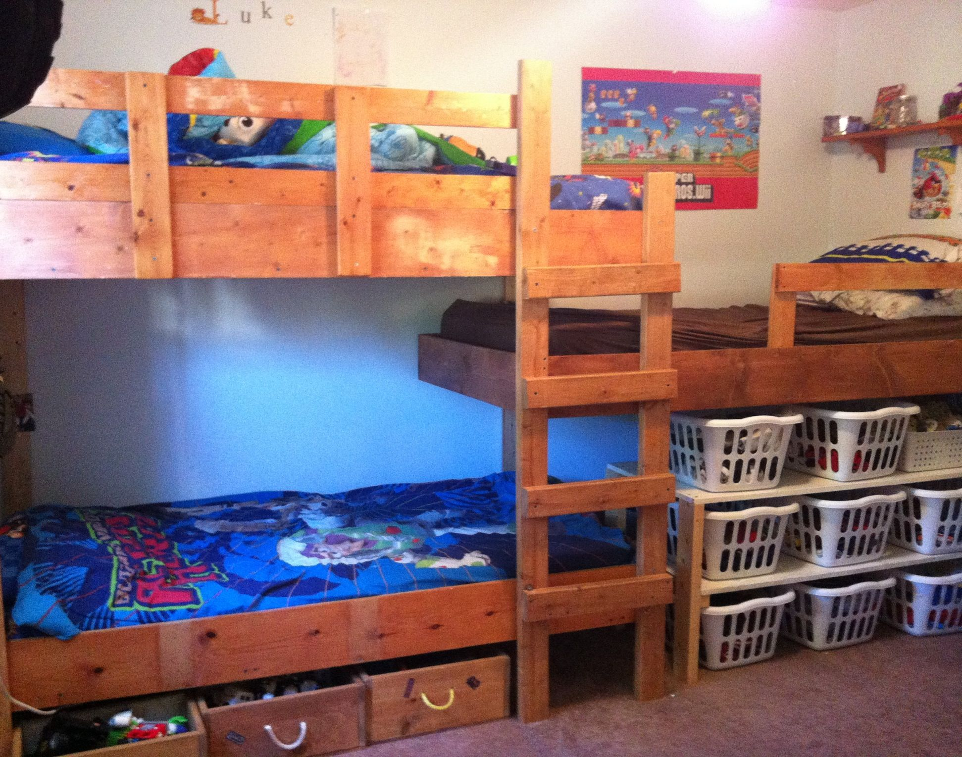 Our triple bunk bed system toys under one bed clothes for Triple bunk bed