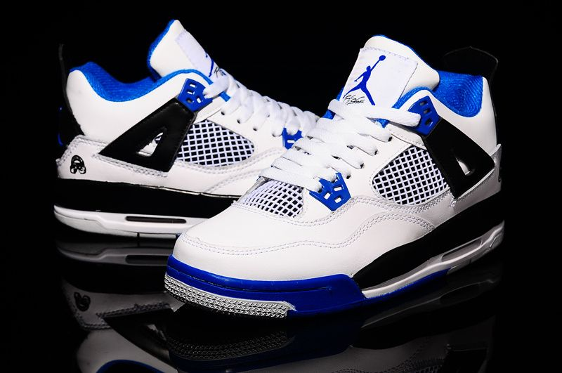 "9be9a96a43af Cheap Air Jordan 4 GS ""Motorsports"" White-Black Royal Blue For Sale ..."