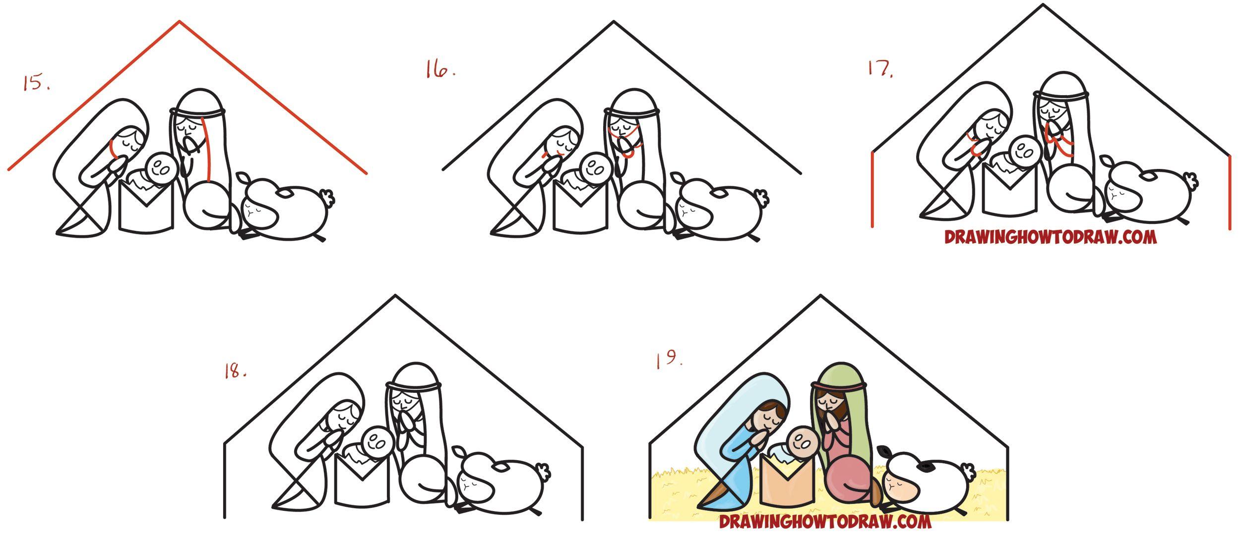 How to Draw Cartoon Nativity Scene with Mary, Jesus, and ...