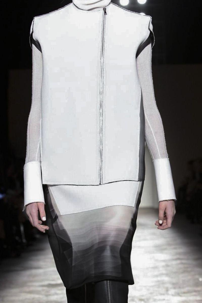 102c46479f2811 Grey ombre dress   boxy white gilet  monochrome fashion details    Gabriele  Colangelo FW14