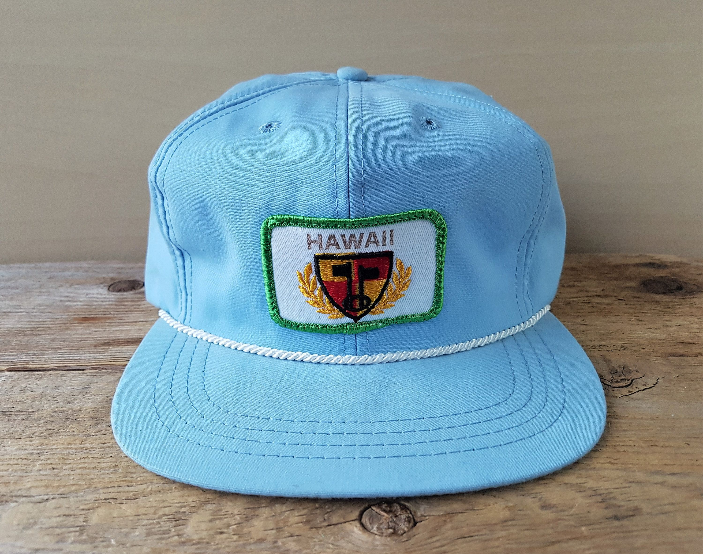 Original Vintage 80s Hawaii Golfer Strapback Hat Light Blue Etsy Strapback Hats Surfer Style Ball Cap