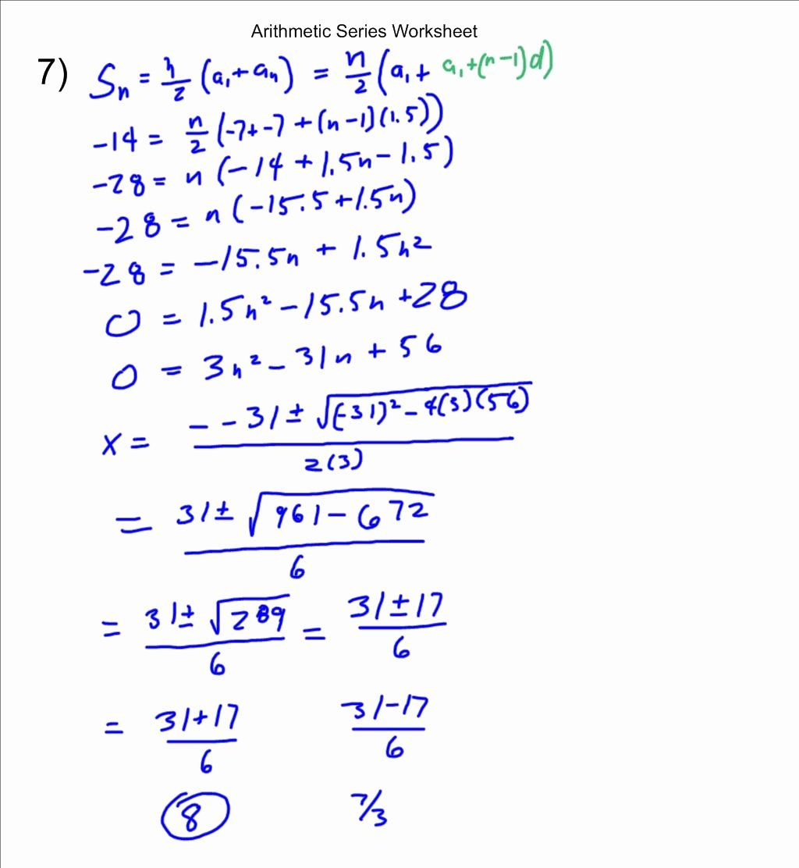 Arithmetic Sequences And Series Worksheet Elegant Mr