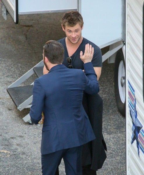 Chris Evans Photos Photos - Chris Hemsworth and Chris Evans are seen in Hollywood. - Chris Hemsworth and Chris Evans Get Ready for a Show
