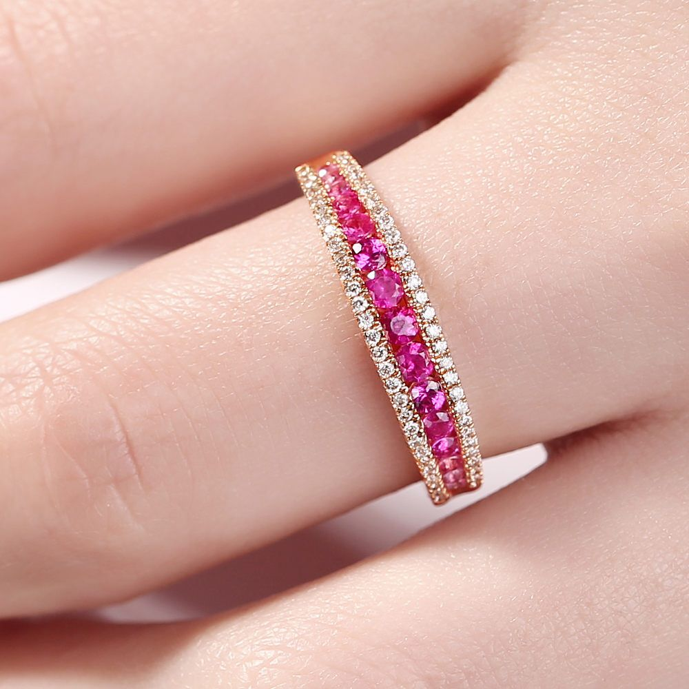 Peach Pink Sapphire wedding band women Half Eternity Band Dainty ...
