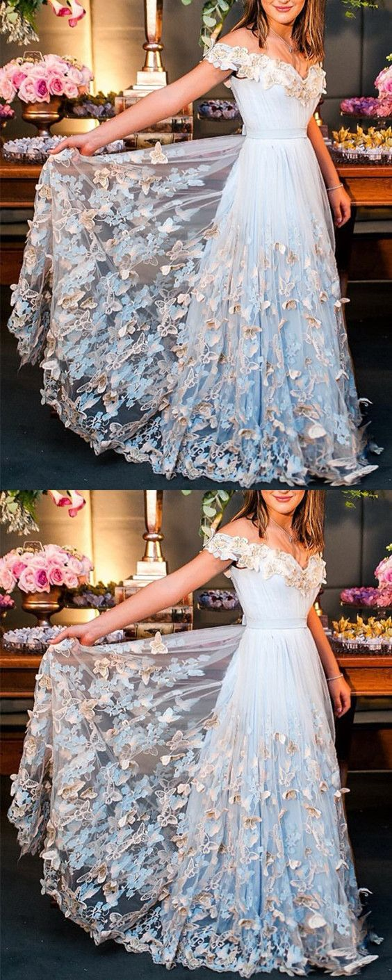 Light blue tulle off the shoulder evening gowns lace embroidery prom