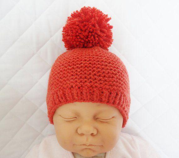 8a7cd46dd3a bonnet en laine orange pour bébé de 0 1 mois