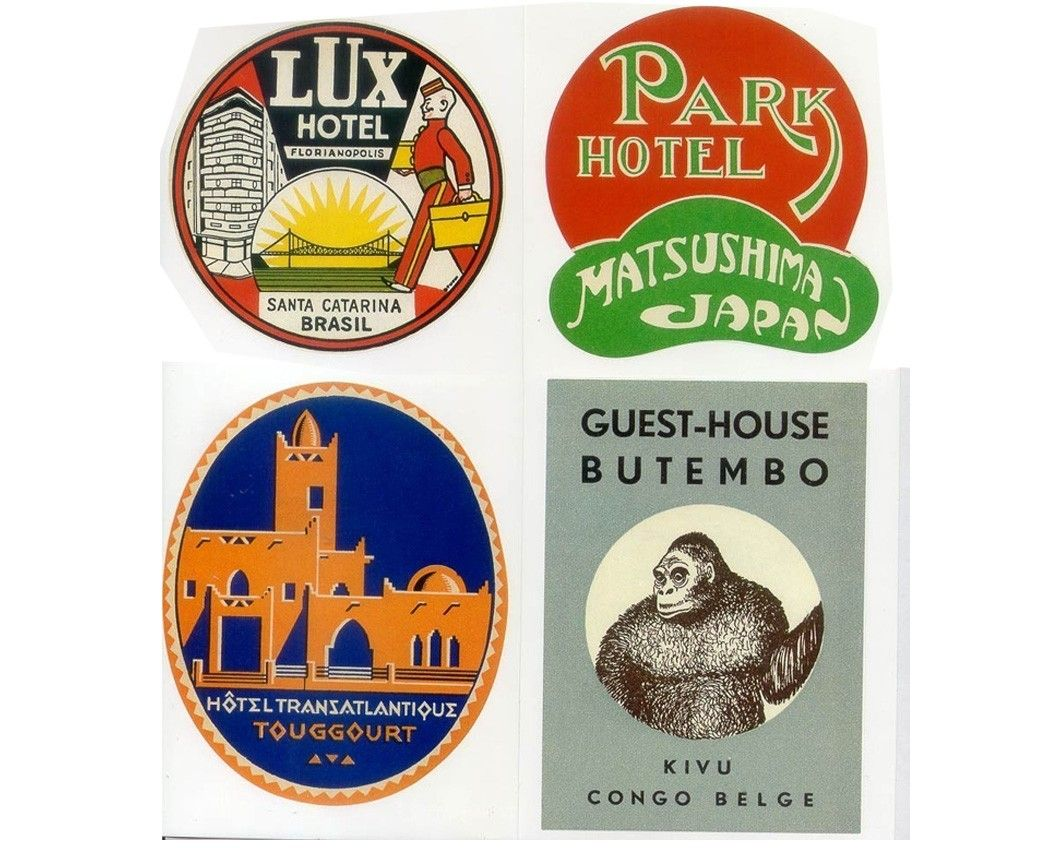 EXOTIC DESTINATIONS - 20 Retro Luggage Labels Stickers ...