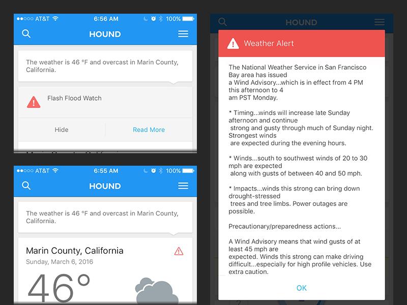 Hound iOS Weather Alerts Weather alerts, Weather, Flood