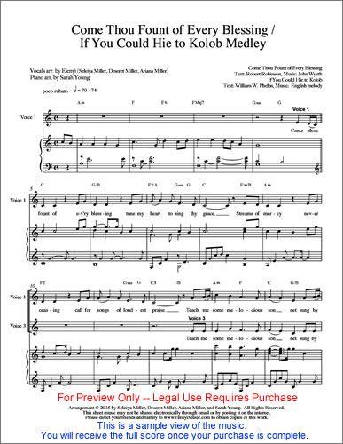 SHEET MUSIC Image - Come Thou Fount--Hie to Kolob_w500 | music ...