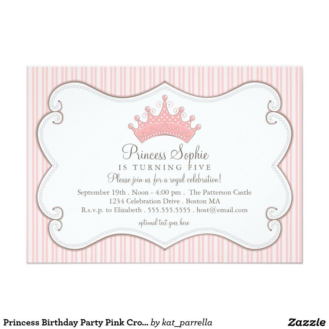 Princess Birthday Party Pink Crown Invitation   Princess birthday ...