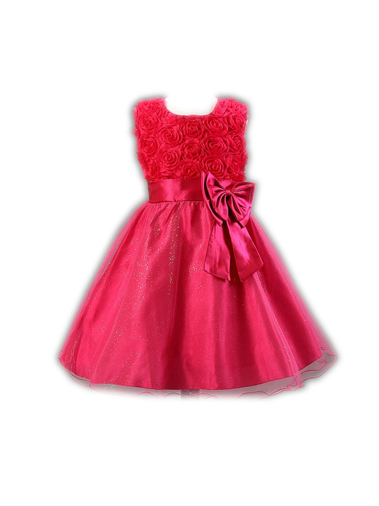 ab206d79f Floral Tutu Lace Flower Girl Dress Big Bow Rose Princess Party Dress -  $15.99