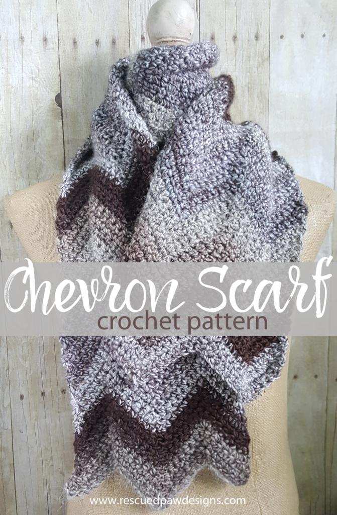 FREE Chevron Crochet Scarf Pattern | Manta