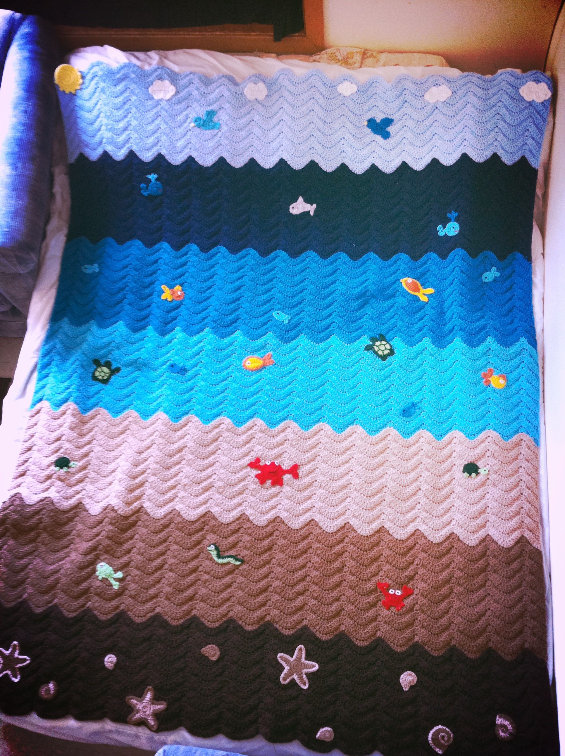 My version of the Crochet ocean waves blanket. Pattern on red heart ...
