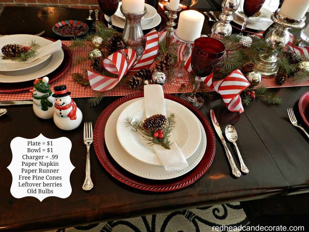 Affordable Christmas Table Plate $1dollar store bowl $1dollar store charger .99 paper napkins wrapping paper runner free pine cones cranberries left ... & Affordable Christmas Decorating | Pine cone Wrapping papers and ...