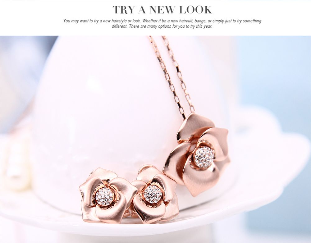 OUFO Rose Gold Plated Flower Rhinestone Necklace Earring Fashion