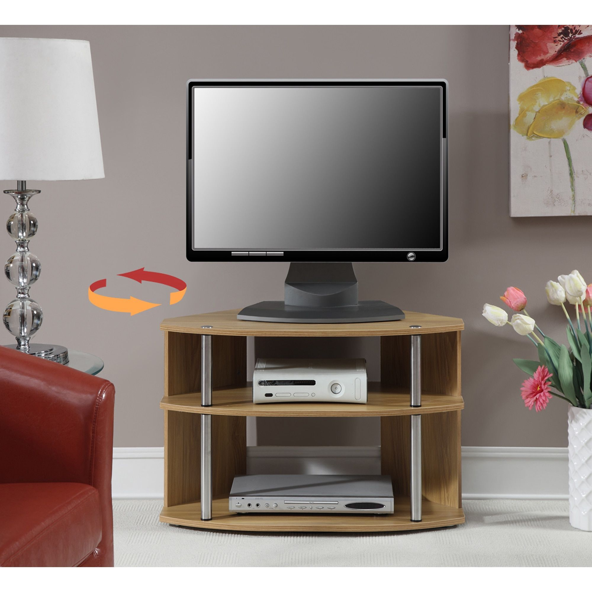 Convenience concepts designsgo swivel tv stand light oak brown