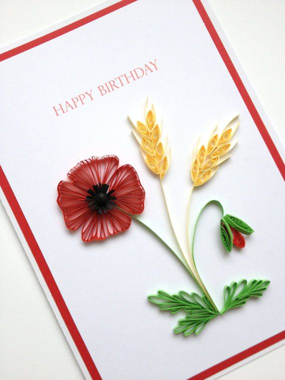 Paper quilling happy birthday card large 8 x6 size quilled paper quilling happy birthday card large 8 x6 size quilled handmade paper stopboris Choice Image
