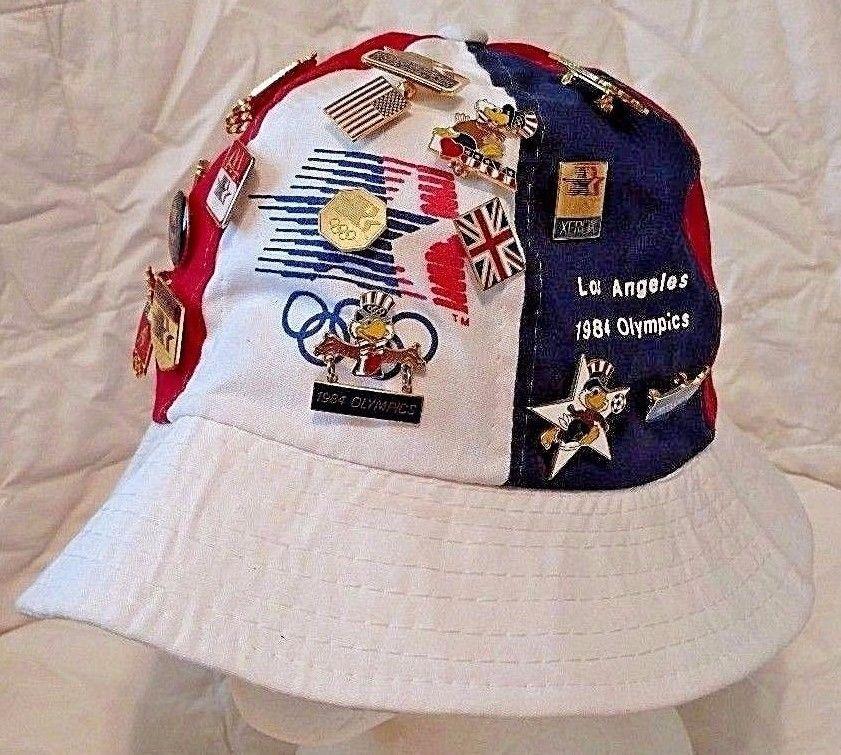 3fc691a0fff VINTAGE 1984 Los Angeles Olympics bucket hat 20 pins american flag eagle  size M American Flag
