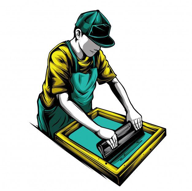 Silk screen | Premium Vector #Freepik #vector #design #character #tshirt #screen