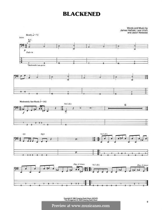 Blackened (Metallica) For bass guitar with tab by James Hetfield