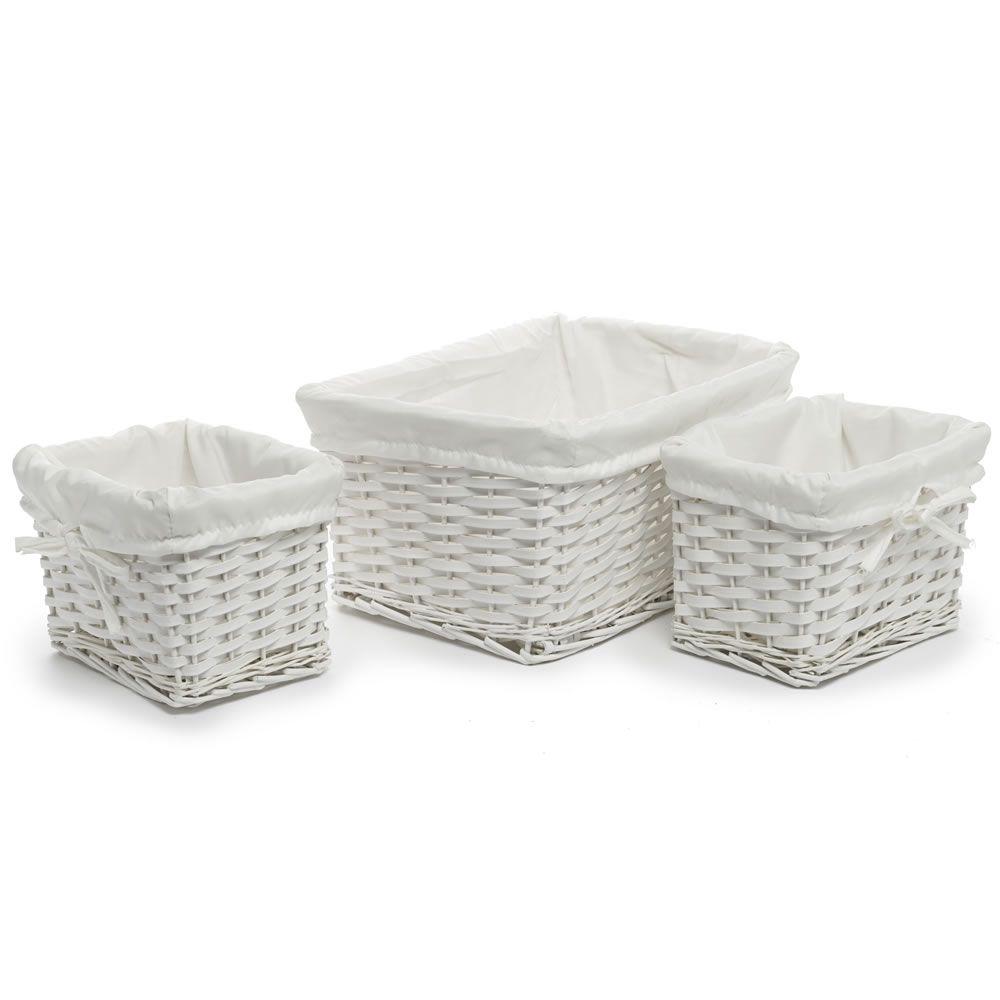 Set of 3 Baskets White | Bathroom storage, Wood bathroom and Storage ...