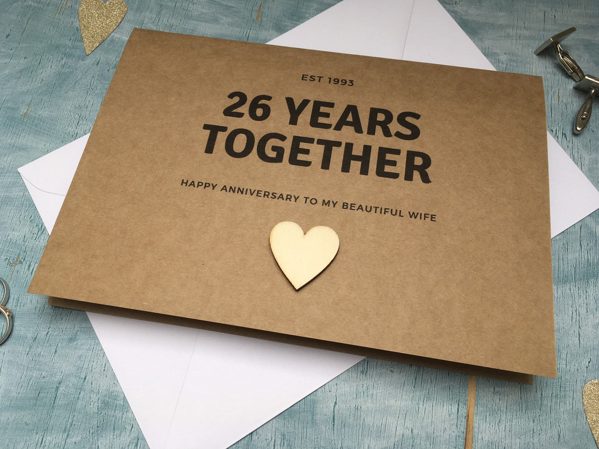 Personalised Custom 26 Year Wedding Anniversary Card Parent