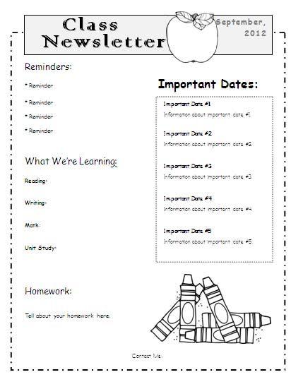 Teacher Newsletter Templates Word School Pinterest Classroom