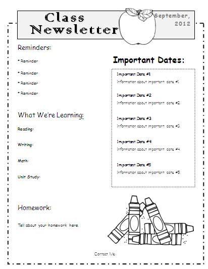 Teacher Newsletter Templates Word school Pinterest Newsletter
