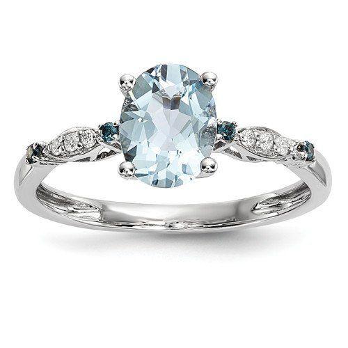 14k White Gold Oval Genuine Aquamarine Blue Sapphire Diamond Ring