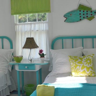 fun cottage bedroom in turquoise and lime