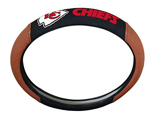 NFL Kansas City Chiefs Steering Wheel Cover  http://allstarsportsfan.com/product/nfl-steering-wheel-cover/?attribute_pa_teamname=kansas-city-chiefs  Fits Most Standard Size Steering Wheels Up To 14.5-inches to 15.5-inches Football Accents Provide a Fumble Free Grip Decorated with NFL Full Embroidered Team Colored Logo