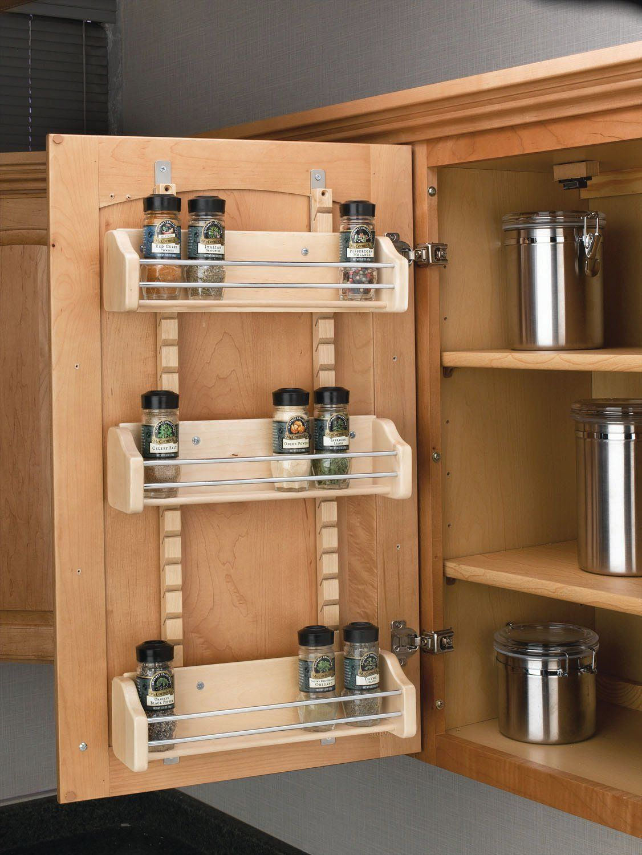 Amazon Com Rev A Shelf 4asr Adjustable Door Mount Spice Rack With Standard 16 12 Width Wood Home Improvement Kitchen Cabinet Organization Door Mounted Spice Rack Kitchen Storage