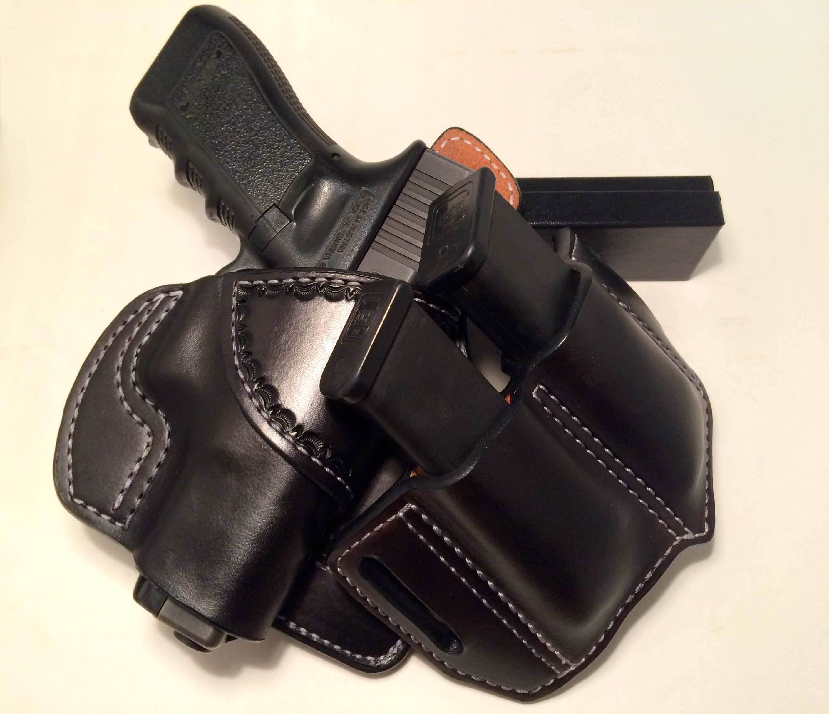 All leather paddle holster for Glock 9mm or  40 S&W and dual