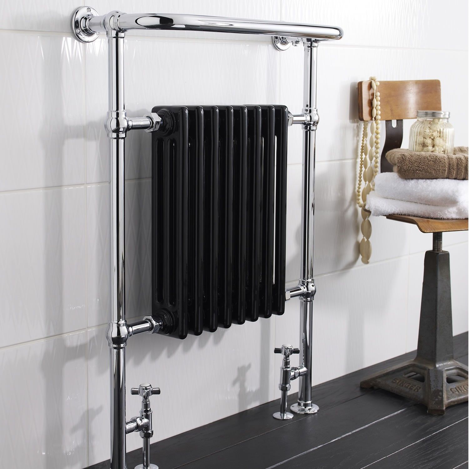 Marquis Black Traditional Hydronic Towel Warmer 26 X 37 Hydronic Towel Warmers Full Collection Hydroni Heated Towel Rail Towel Rail Traditional Radiators