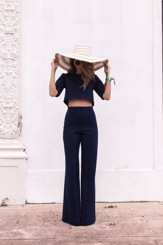 98a8ec0a43 What to Wear For a Vacation Black Crop Top Outfit, Wide Leg Pants Outfit  Summer