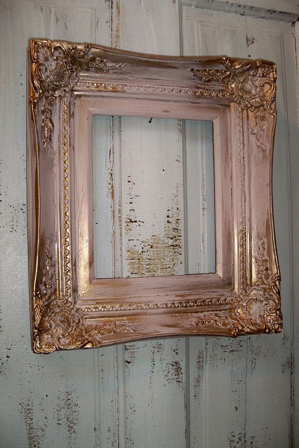 Pink Gold Wood Frame Vintage Ornate Heavy Wood By