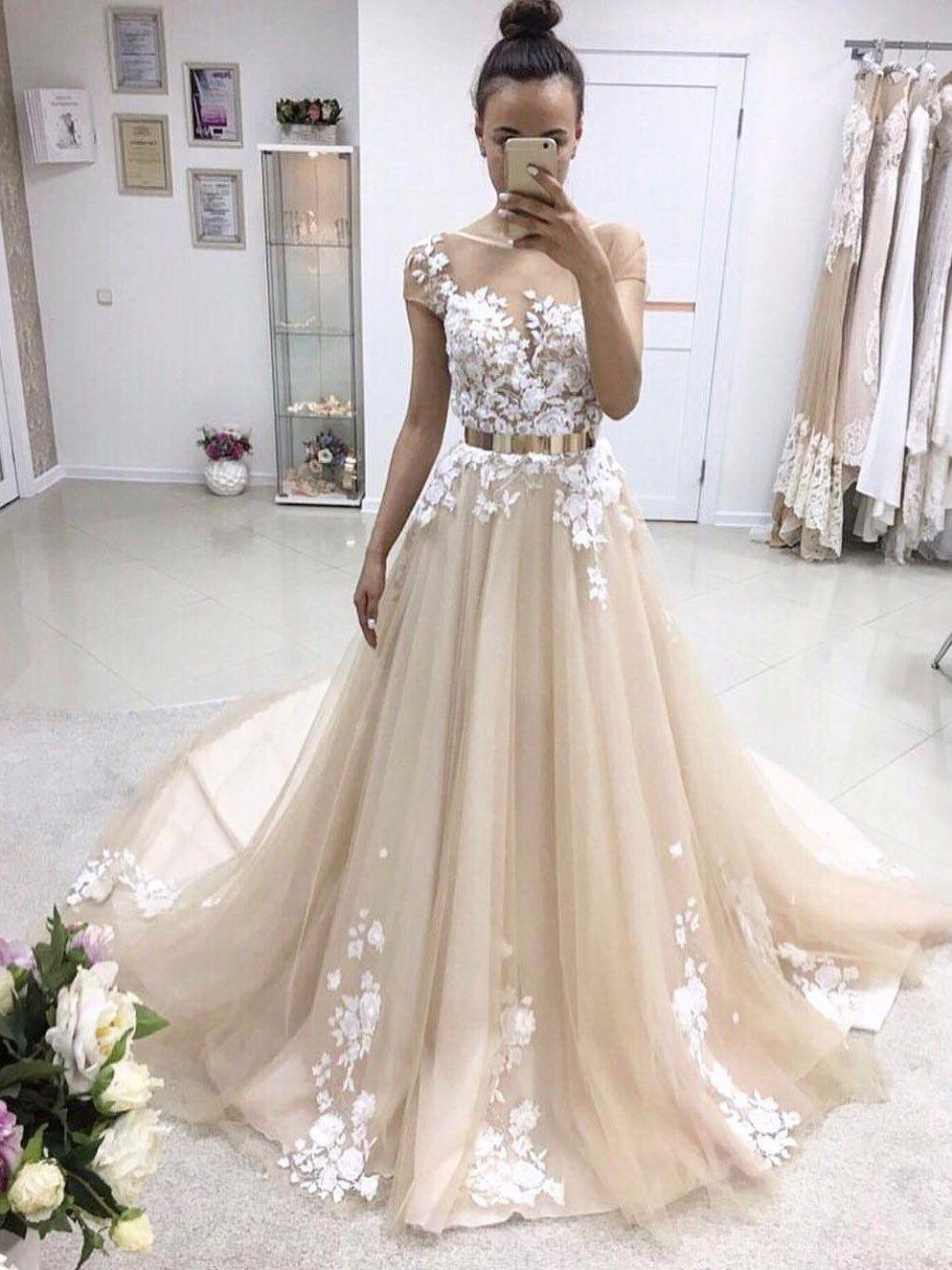 Short sleeve illusion lace aline cheap wedding dresses online