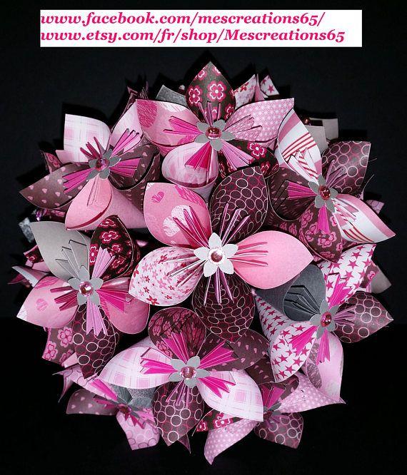 Exemple Bouquet de 15 fleurs origami en papier | Origami | Pinterest ...