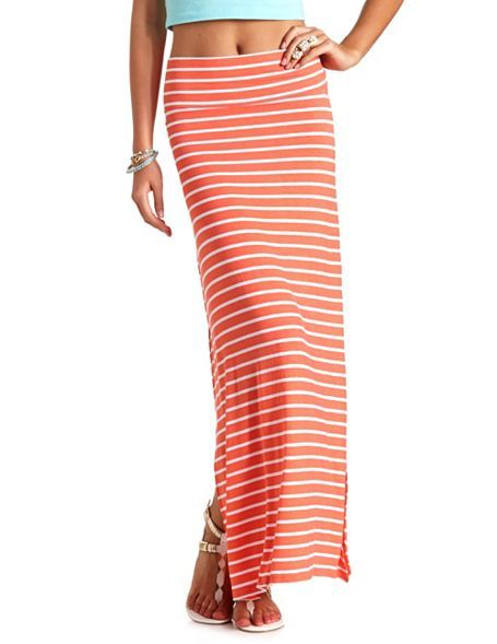 Striped Double Slit Maxi Skirt: Charlotte Russe