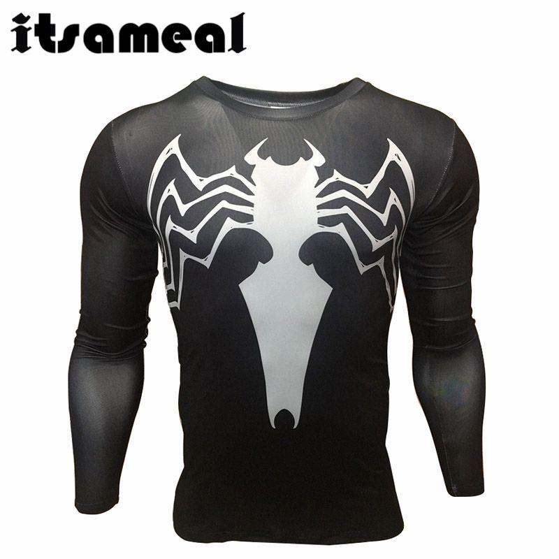 b65909f068 Spiderman lycra compresión camisa de los hombres 3d impreso camisetas  raglan manga larga clothing hombre crossfit gimnasio tops hot 2017 en  Camisetas de ...