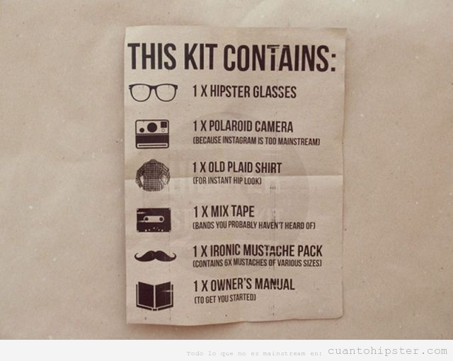 Kit 'how to be a hipster'
