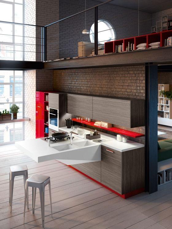 Kompakte Wohnküche Snaidero Design Herausstehendes Board Very Nice Idea For  Compact, Small Places. | Kitchens | Pinterest | Wohnküche, Designs Und Küche