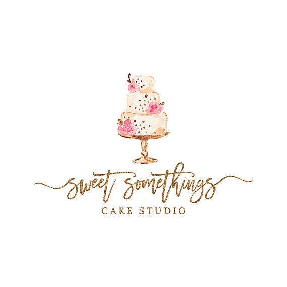 cake logo design watercolor Premade Bakery Logo Design Watercolor Cake Logo Calligraphy  Cake