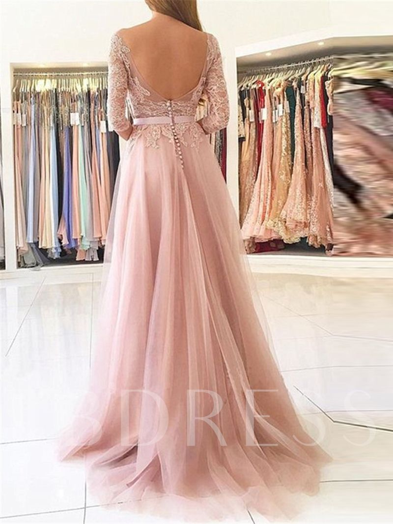 Appliques Split-Front 12/12 Length Sleeves Evening Dress (mit