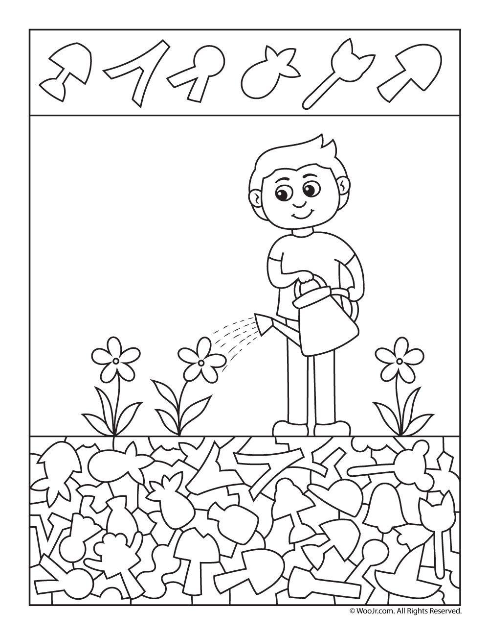 Watering The Garden I Spy Page Woo Jr Kids Activities Hidden Pictures Hidden Pictures Printables Activities For Kids [ 1296 x 1000 Pixel ]